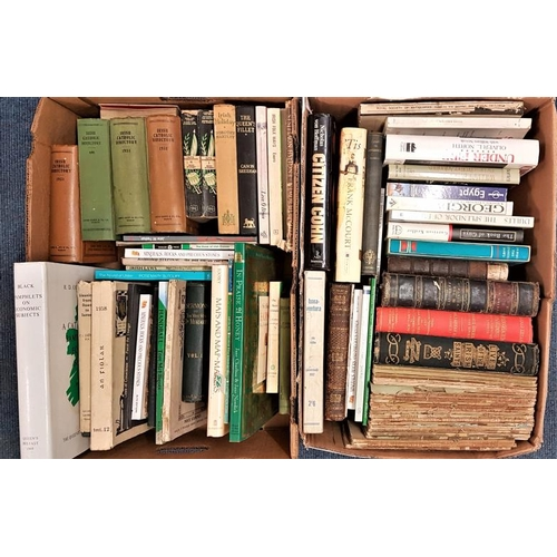 632 - Two boxes of books, mostly Irish interest. Journals, O'Hanlon's Irish Lives of the saints, Irish Cat...