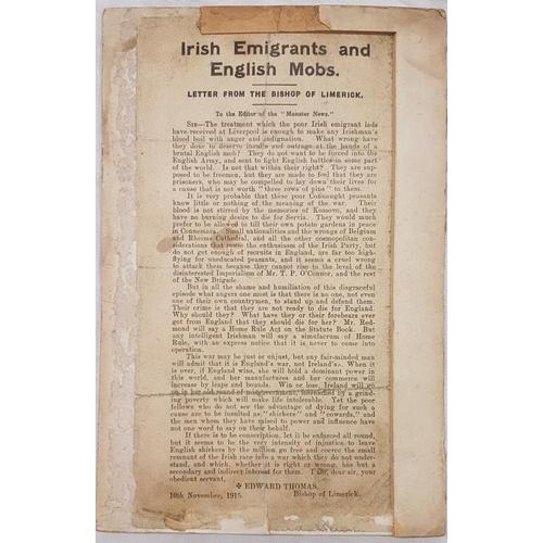 633 - <em>Bishop of Limerick, Irish Emigrants and British Mobs, 1915</em> - Single Page...