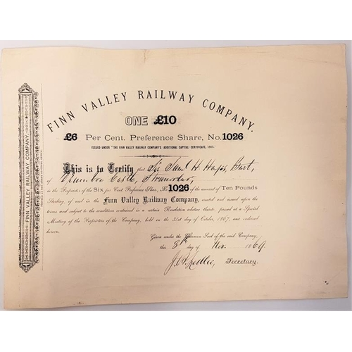 634 - <em>Finn Valley Railway Company Share Certificate</em>. £ 6 Preference Share. Dated November 1869. T...