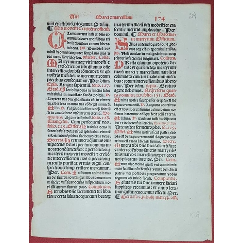 639 - Early Printing.<em> Leaf of Breviary</em> printed in 1509. Handpainted initials and other highlights...