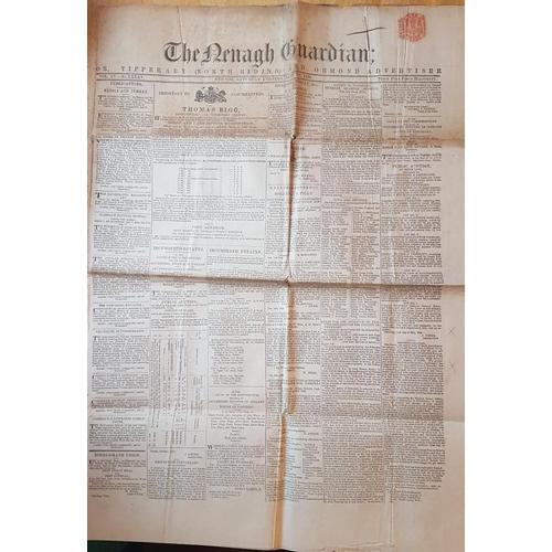 640 - Old Newspaper,<em> The Nenagh Guardian</em>, June 1854....