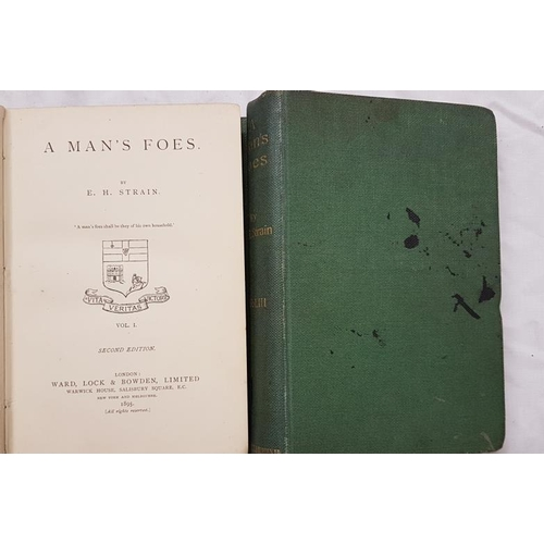 643 - Stain, E.H. <em>A Man's Foe</em>. Three volumes, 1895, Cloth, 2nd Edition, Some wear...