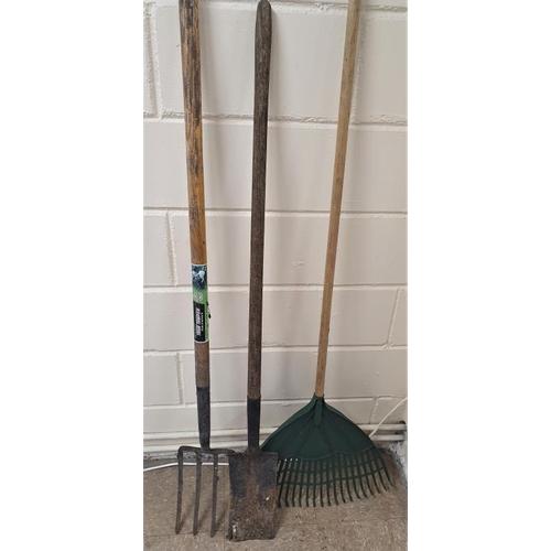 14 - Garden Fork, Spade and Leaf Rake (3)...