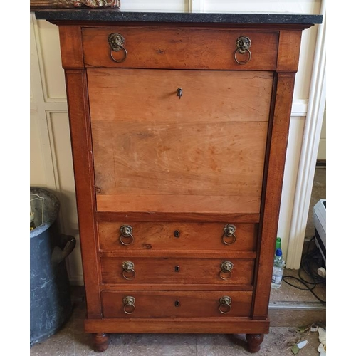 21 - French 19th Century Marble Top Side Cabinet with an arrangement of drawers and a door and raised on ...