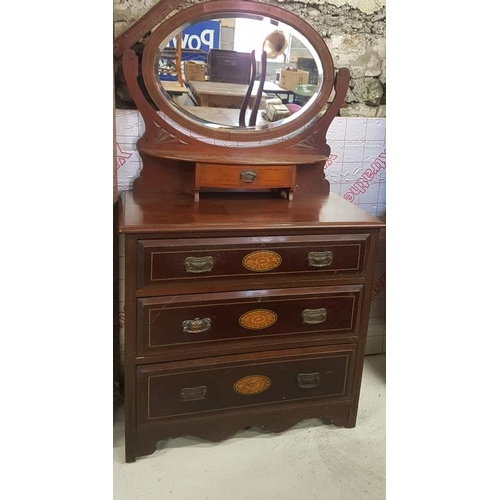 33 - Mahogany Inlaid Dressing Table - 37 x 67ins...