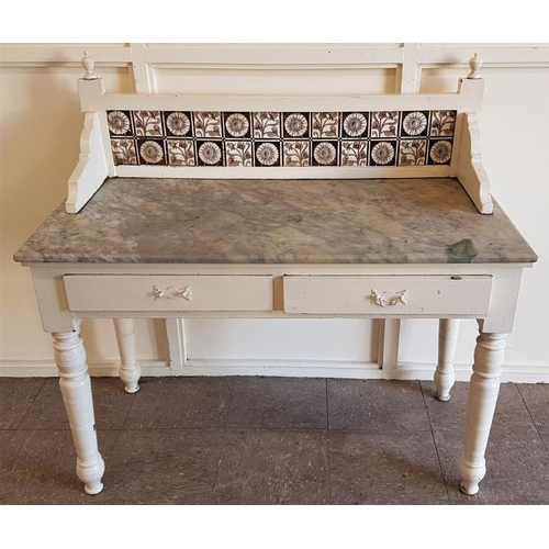 35 - Edwardian Painted Washstand with tiled back and marble shelf above a pair of frieze drawers - c. 42 ...