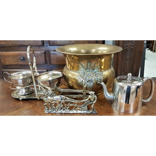 39 - Brass Jardiniere and various plated wares etc....