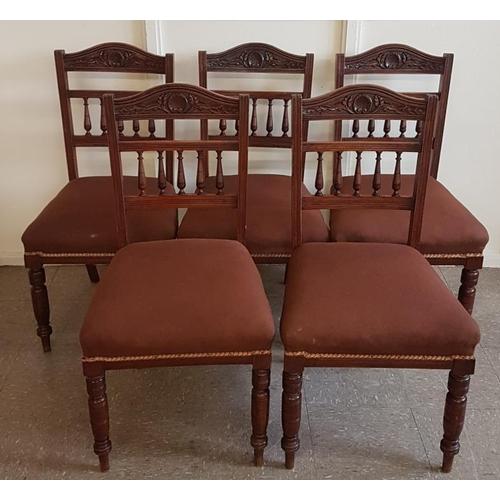 47 - Set of Five Edwardian Mahogany Dining Chairs...