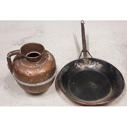 48 - 19th Century Copper Frying Pan and Copper Ewer...