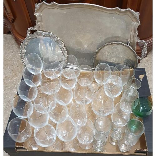 100 - Large Silver Plated Serving Tray, two smaller ones and large collection of drinking glasses...