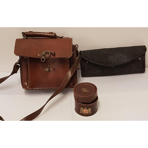 112 - Early 20th Century Dispatches Case, Spanish Tooled Leather Clutch Bag and a Leather Case...
