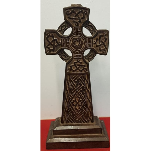 113 - Large Wooden Carved Celtic Cross - 26.5ins high...