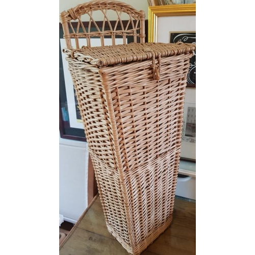 114 - Vintage French Baguette Wicker Basket used as Umbrella Stand - 28ins high...