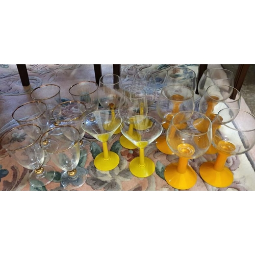 135 - Collection of Coloured Stem and other drinking glasses...
