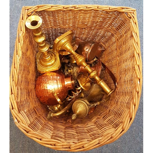 139 - Basket of Copper and Brass Wares...