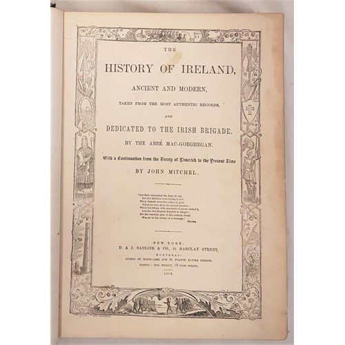 9 - <em>History of Ireland</em> by Abe Mac-Geoghan and John Mitchell, attractive binding, 1868 New York...