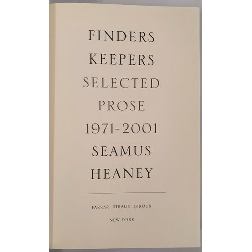 21 - Seamus Heaney. <em>Finders Keepers.</em> 2002. 1st edit....