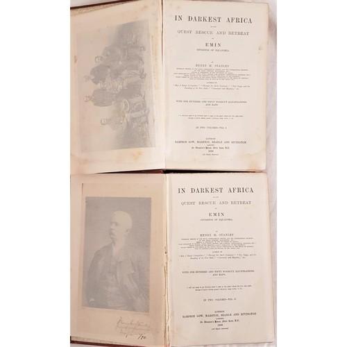 39 - H.M.Stanley. <em>In Darkest Africa</em>. 1890. 1st edit. 2 volumes. Maps and plates. Gilt red cloth ...