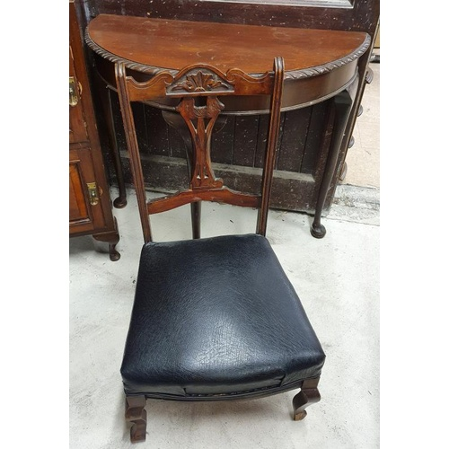 13 - Mahogany Half Moon Hall Table and an Edwardian Nursing Chair - 34.5 x 30ins...