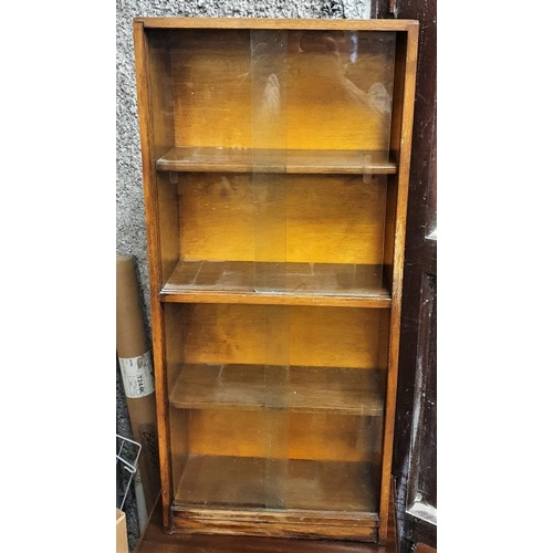 14 - 1970's Oak Bookcase with four sliding glass doors - 16.5 x 37ins...