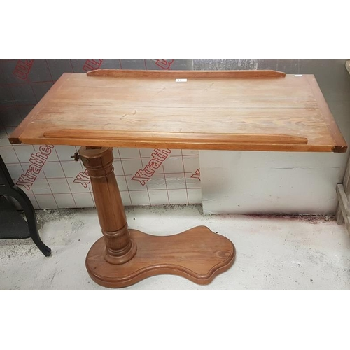 33 - Victorian Pitch Pine Adjustable Bed Table - 35 x 32ins...