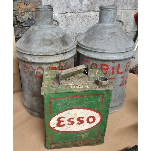 34 - Pair of Mobiloil Drums and an Esso Oil Can...
