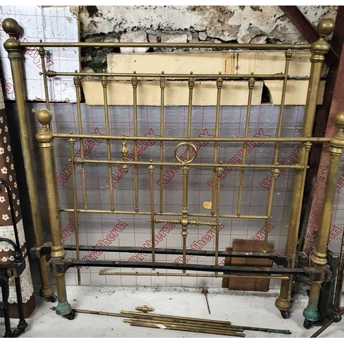 37 - Victorian Brass 4ft6in Bed Frame (A/F)...