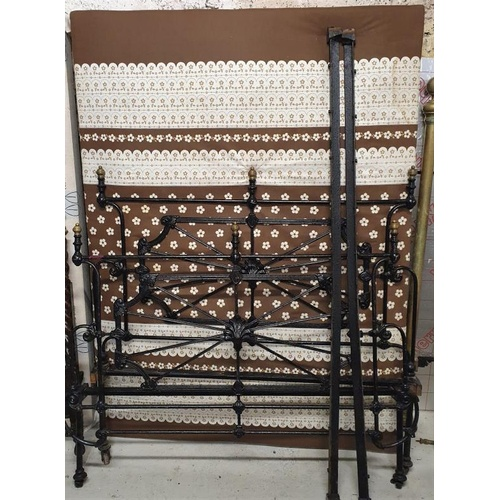40 - Victorian Brass and Iron 4ft6in Bed Frame with side rails and base...