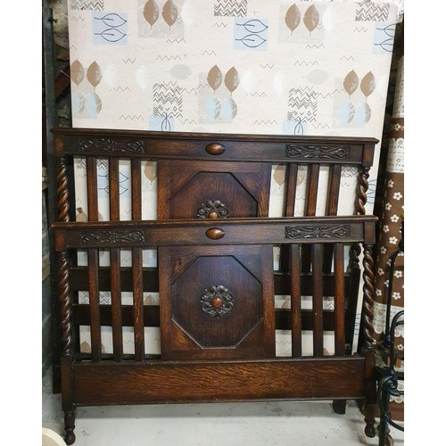 42 - Late Victorian Carved Oak 4ft6in Bed Frame with spiral supports (with side rails and base)...