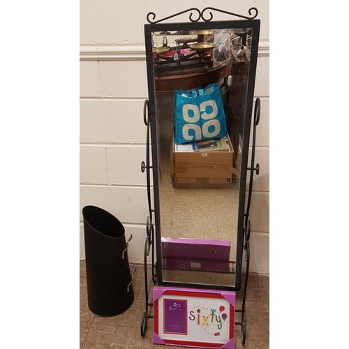 44 - Cast Metal Freestanding Mirror (17 x 52ins), modern Coal Bucket and a Picture Frame...