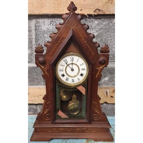 45 - Edwardian Mahogany Case Steeple Clock...