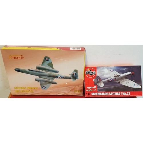 86 - Two Airfix Kits: 1:72 Supermarine Spitfire Mk.22 and 1:72 Gloster Meteor Kit (both unused, as new)...