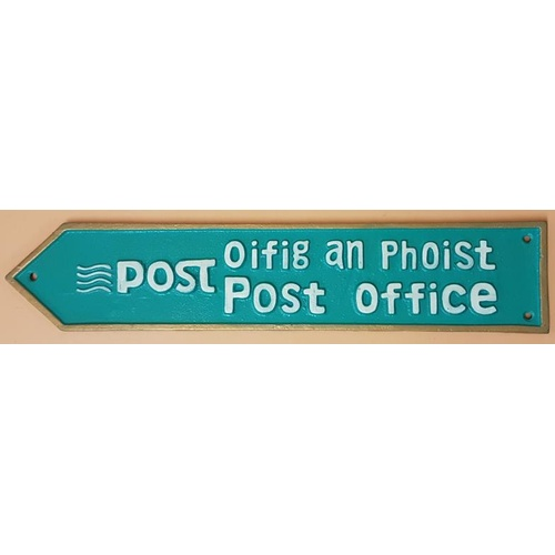2 - Oifig and Phoist - Double sided Post office Sign-c19ins x 4ins...