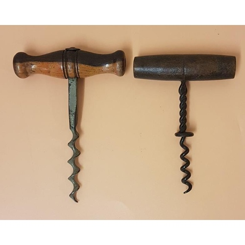 12 - Two 19th Century timber handled Corkscrews...