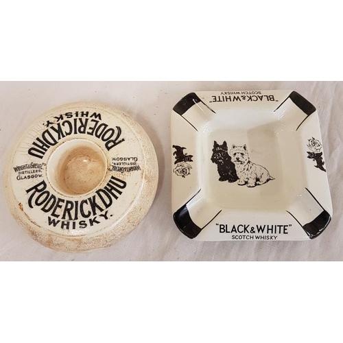 16 - Roderickdhl Scotch Whisky pottery Ashtray/matchstriker, & Black & white A/tray...