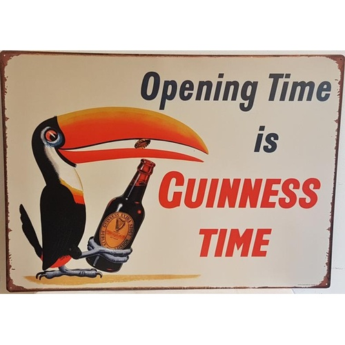 39 - <em>'Opening Time is Guinness Time</em>' Advertising Sign - 27.5 x 19.5ins...