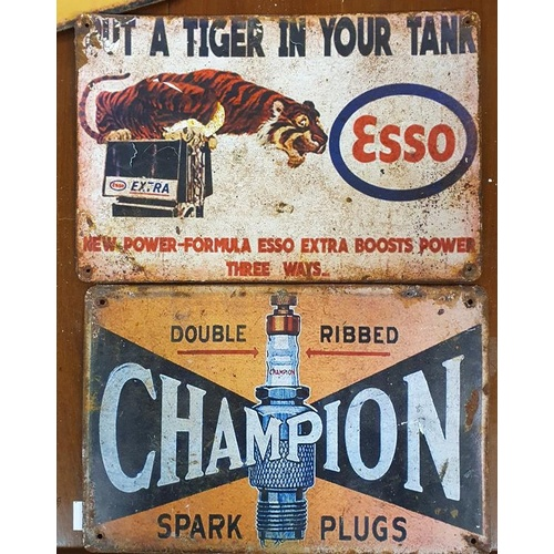 44 - Esso & Champion Steel Signs-c11.5ins x 8ins...