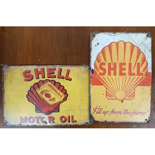 45 - Two Shell Signs-c11.5ins x 8ins...