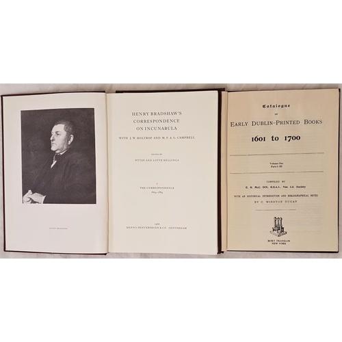 21 - E.R. Dix : <em>Catalogue of Early Dublin Printed Books 1601-1700</em> parts 1-3 volume one (of 2) Bu...