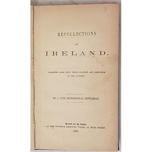 23 - <em>Recollections of Ireland Collected from Fifty Years Practice and Residence in the Country by A L...