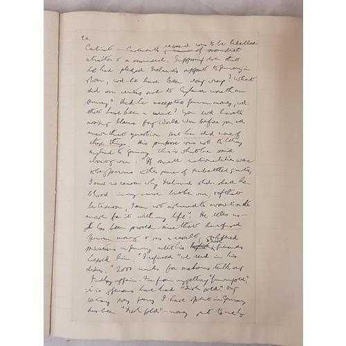 26 - <em>Roger Casement</em> - A scrap book containing a 35pp handwritten essay on him, probably unpublis...