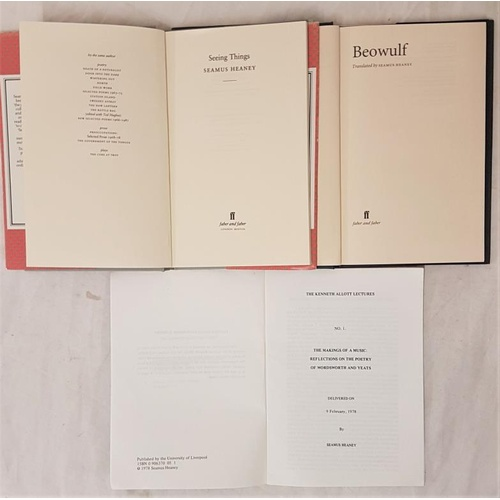 42 - Seamus Heaney - <em>Seeing Things, Beowulf and Making Music</em> - all first editions...