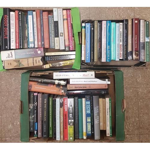 4 - 3 small boxes. 1) <em>Irish fiction et al.</em> Small box of c20 vols of fiction (many 1st eds), wit...