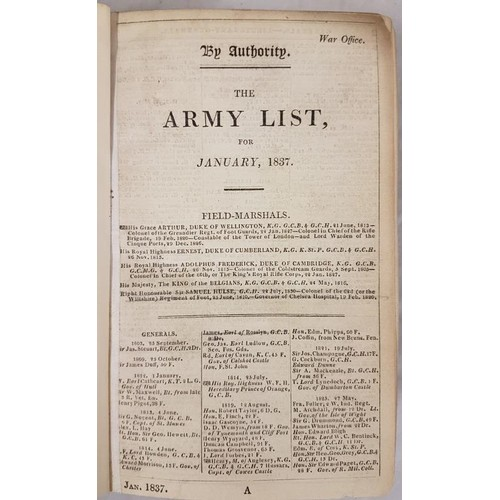 552 - <em>Army List for January 1837 through to December 1837</em>, 12 issues bound together in later clot...