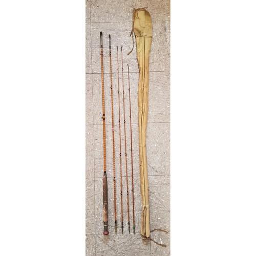 4 - <em>W J Cummins, Bishop Auckland</em> - Vintage Split Cane 3-Piece Fishing Rod c. 10ft6in with 1 spa...