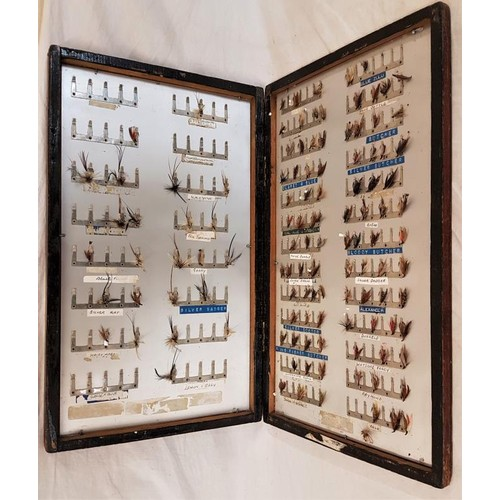 18 - Early to mid 20th Century Salesman's/Retailer's Display Case with approximately 120 hand tied flies...