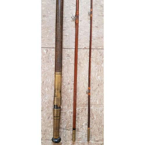 29 - Vintage 3-Piece Wooden Fishing Rod c.10ft6in...