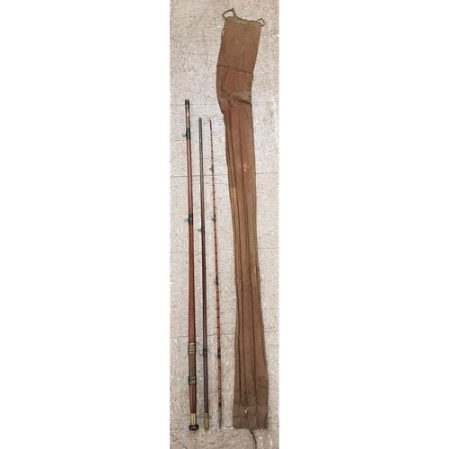 31 - Vintage Mahogany Three Piece Fishing Rod c.12ft...