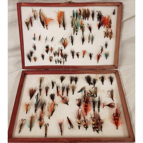 48 - Wooden Fishing Box with Salmon Flies...