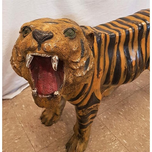 161 - Very good painted Bronze Tiger bearing foundry stamp. Tip to tail 47ins x 24ins tall....